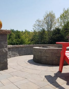 Bow Ledgestone Patio With Firepit